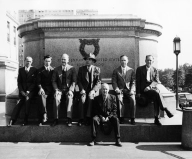 Museum staff in front of the American Museum of Natural History in New York City.