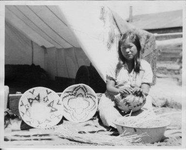 Jicarilla Apache basket artist, Wanada Largo, at Home