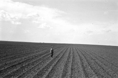 Sam Hisey in field where specimen was discovered