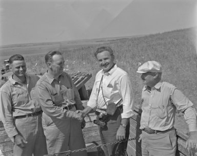 Four participants in the recovery effort of the Norton County meteorite