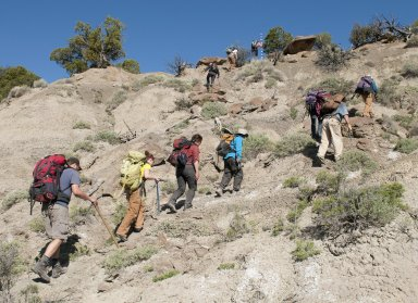 The DMNS group gets close to the top of a ridgeline in the Kaiparowits Plateau.