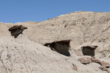 Rock outcroppings are eroding out of the Kaiparowits soil.