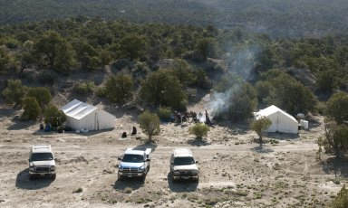 A view of the camp on the Kaiparowits Plateau.