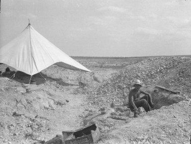 Field worker at unidentified excavation site