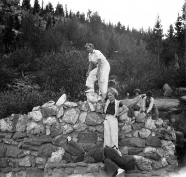 Unidentified people in mountain setting
