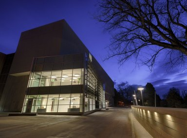 Boettcher Plaza outside of the Morgridge Family Exploration Center at night