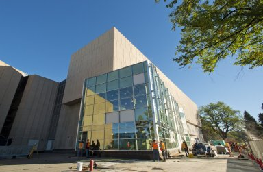 Exterior shot of Boettcher Plaza outside the Education and Collections Facility-Exterior