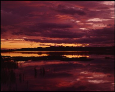 Sunset over estuary waters