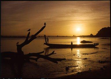 Sunset over estuary waters in Whakatane