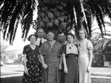 Group of People in Front of Palm Tree