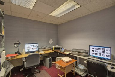 Archives scanning room before move to ECF bilding.