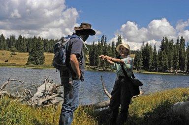 Paula Cushing and John Demboski in the field