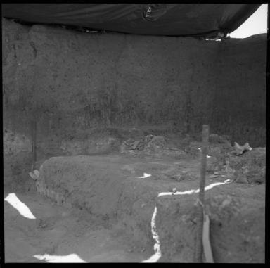 Excavation bed under sun shade