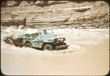 Jeep fording the Colorado River
