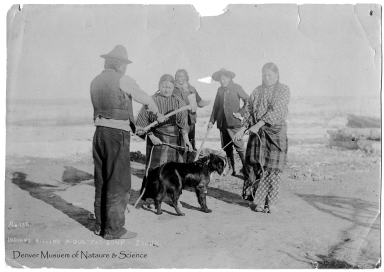 Sioux Indians with dog.