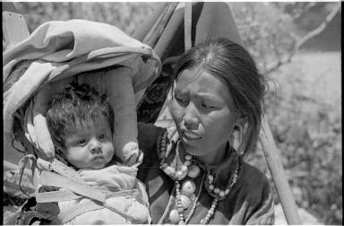 Navajo woman and child