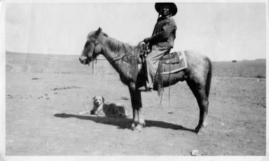 Portrait of a Ute Mountain Ute on horseback