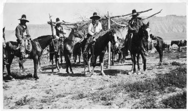 Portrait of Ute men on horseback