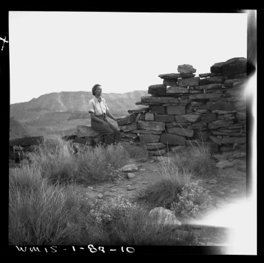 Woman on wall at Fremont Excavation