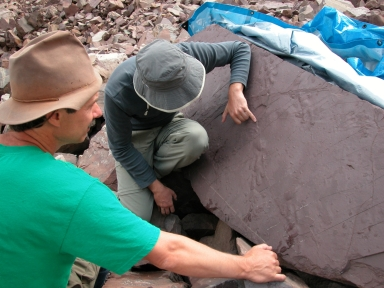 Bryan Small & Sebastian Voigt at Ichniotherium slab