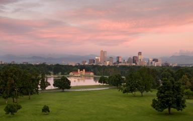 Denver Skyline with Pink Sky