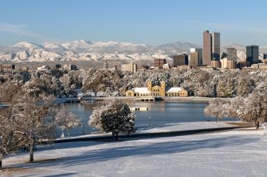 Denver Skyline in Winter