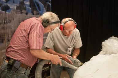Working on Mammoth from Snomastadon Excavation in Paleo Lab