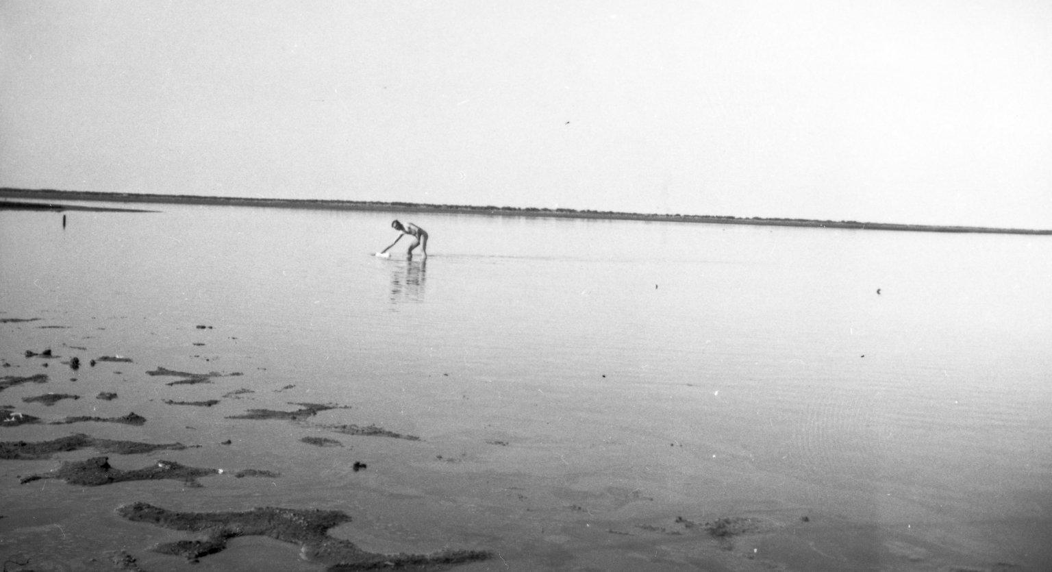 Native retrieving a goose specimen