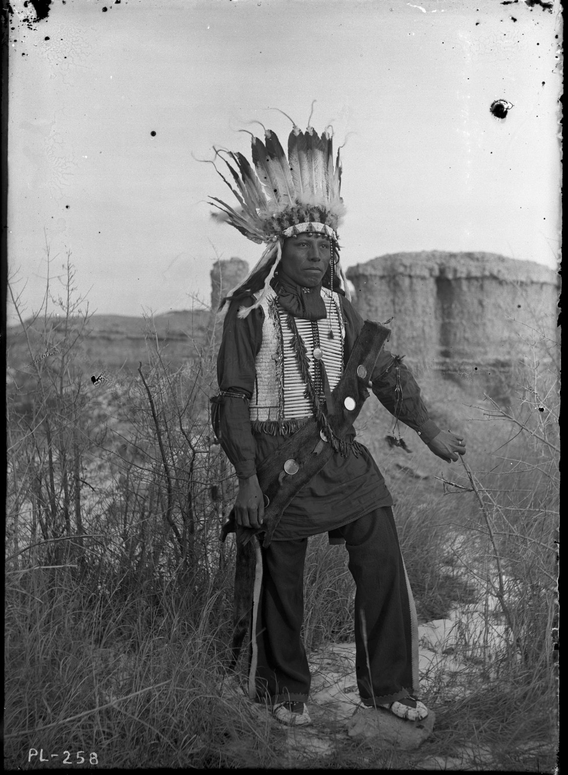 Sioux brave in feather headdress, butte background