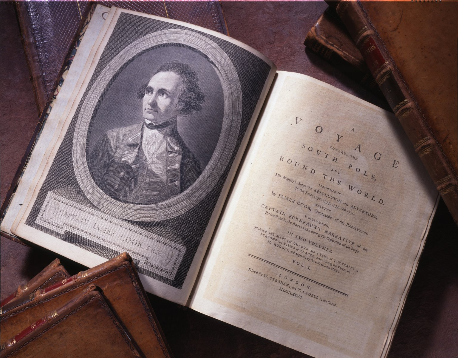 Set of books from Captain James Cook's Voyage.