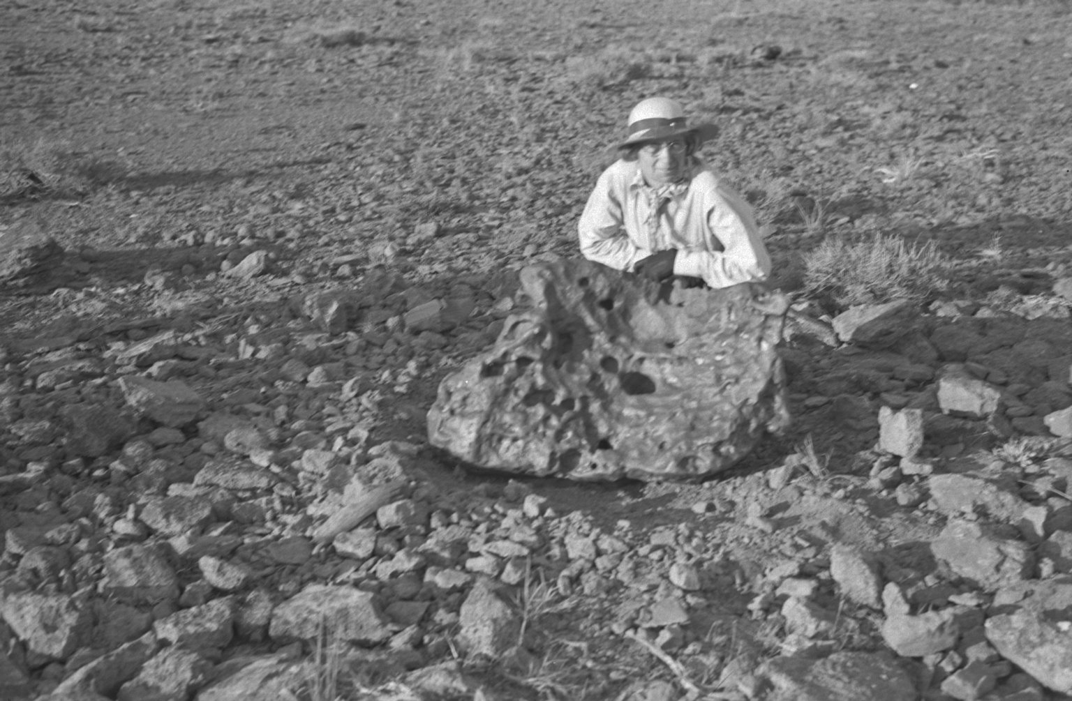 Addie Nininger with meteorite in situ