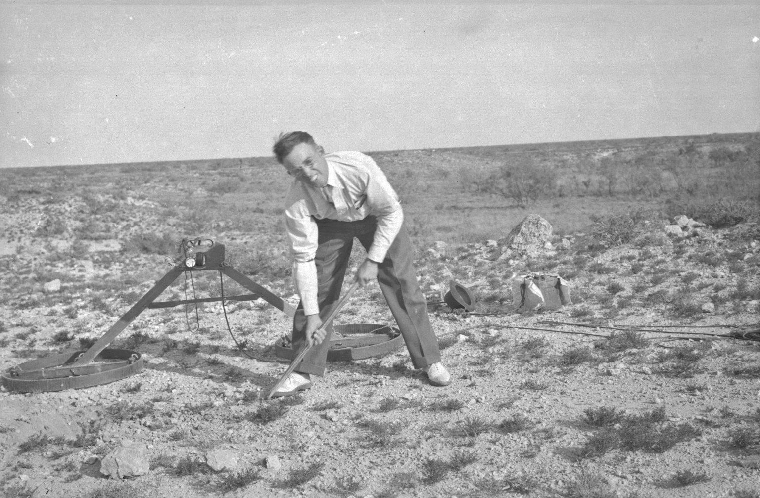 H.H. Nininger digging up a 'find'