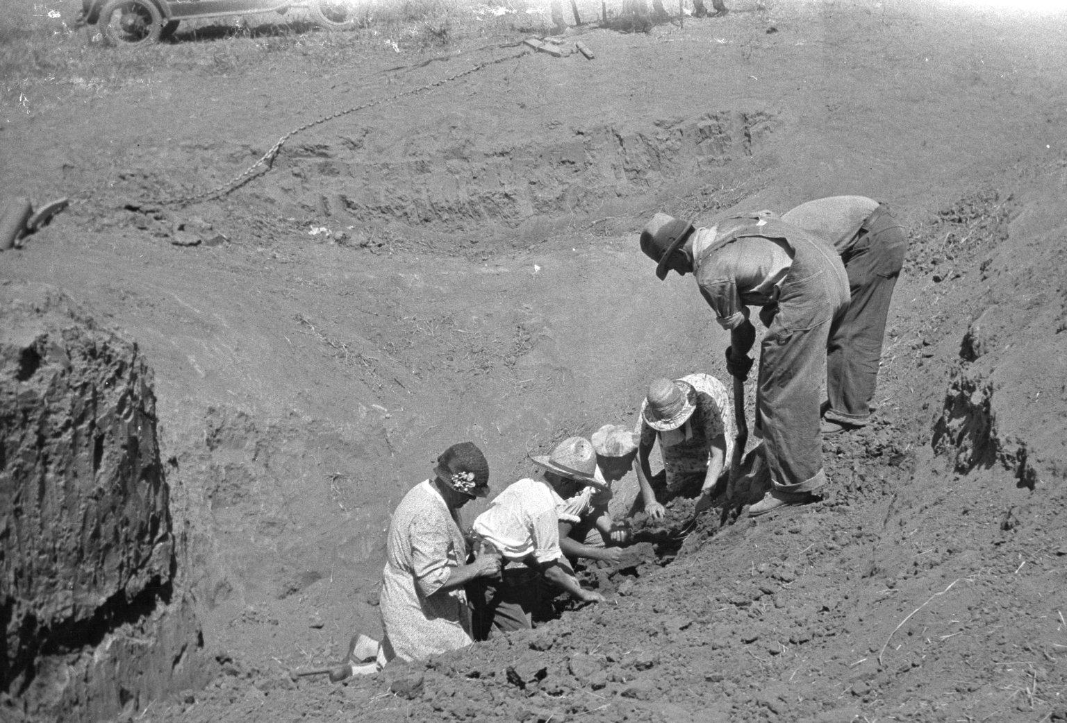 Crew excavating