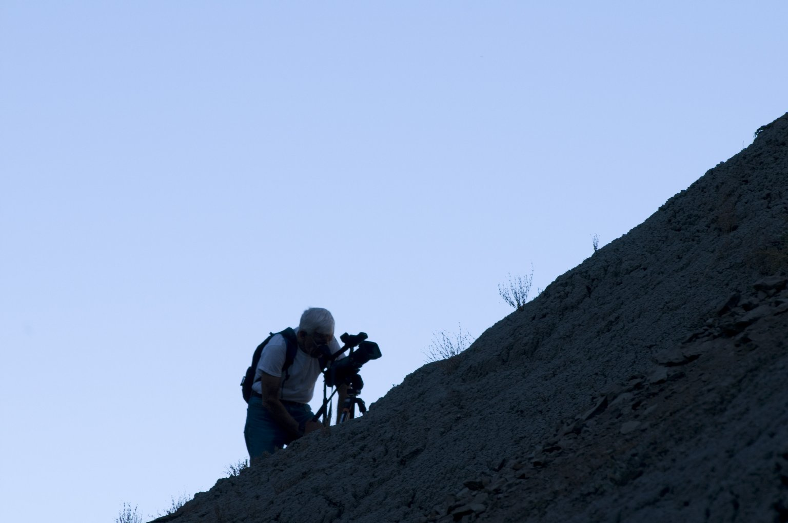 Dave Baysinger films a scene on the Kaiparowits Plateau.
