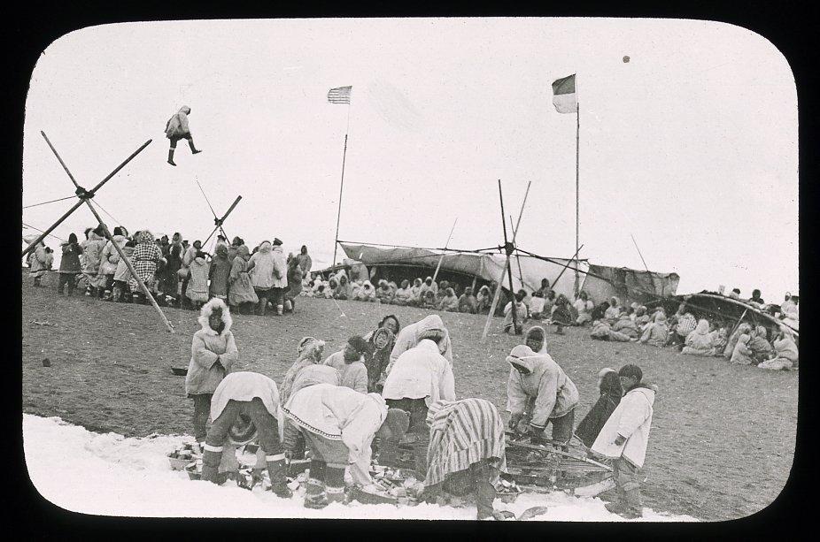 Eskimo gathering, blanket toss