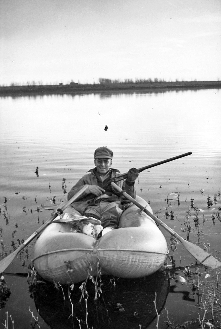 Alfred M. Bailey in rubber boat