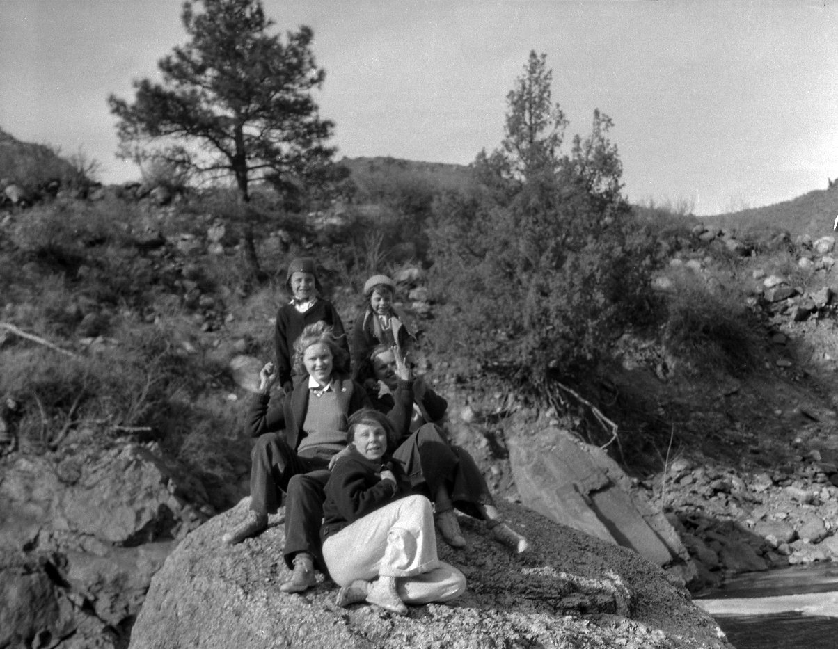 Unidentified young people in mountain setting