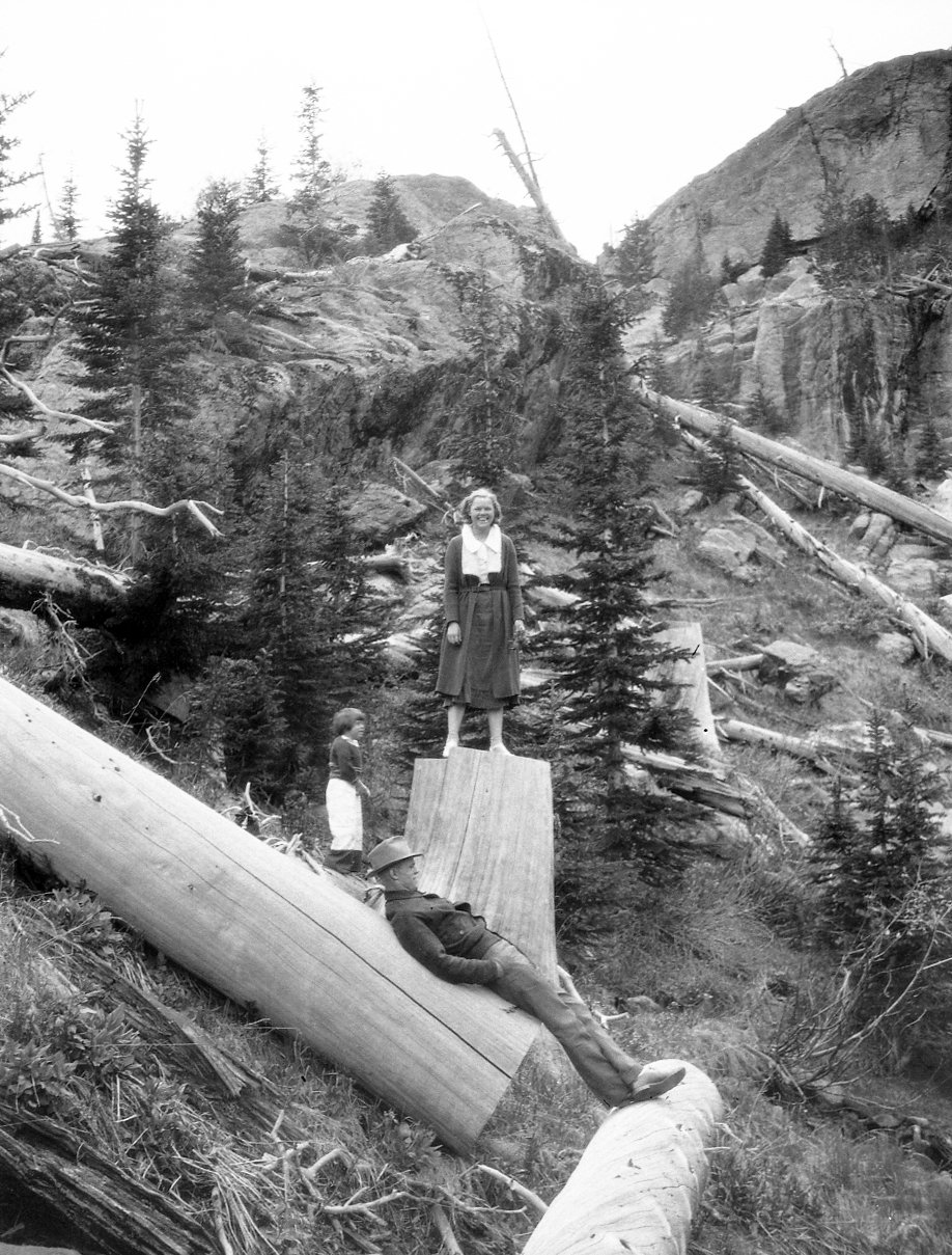 Unidentified people in mountain setting