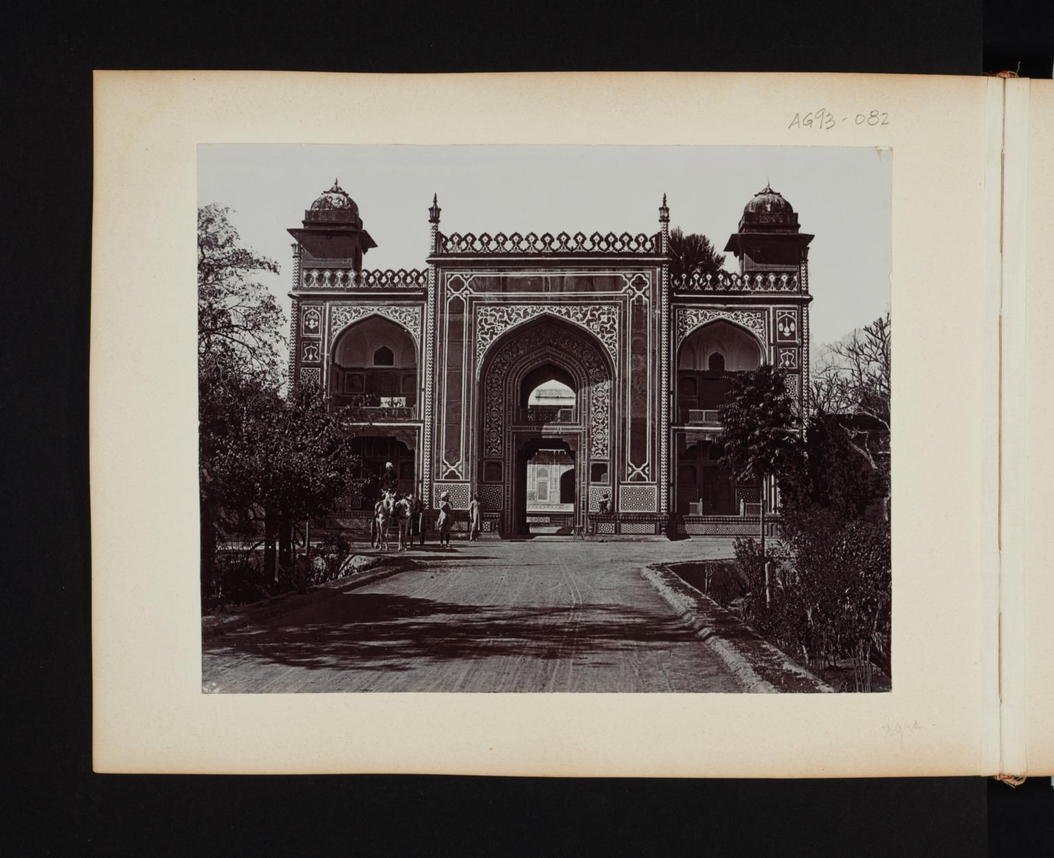 An elaborate mosaic entrance facade in Agra, India.
