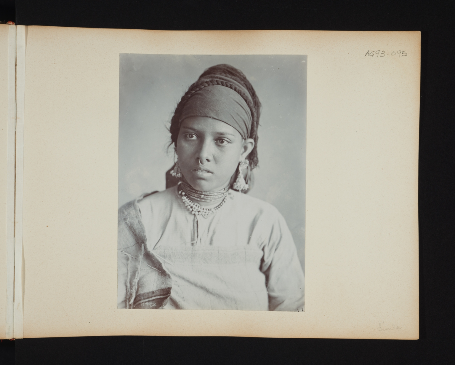 Portrait of a young woman with a nose ring in Simla, India.