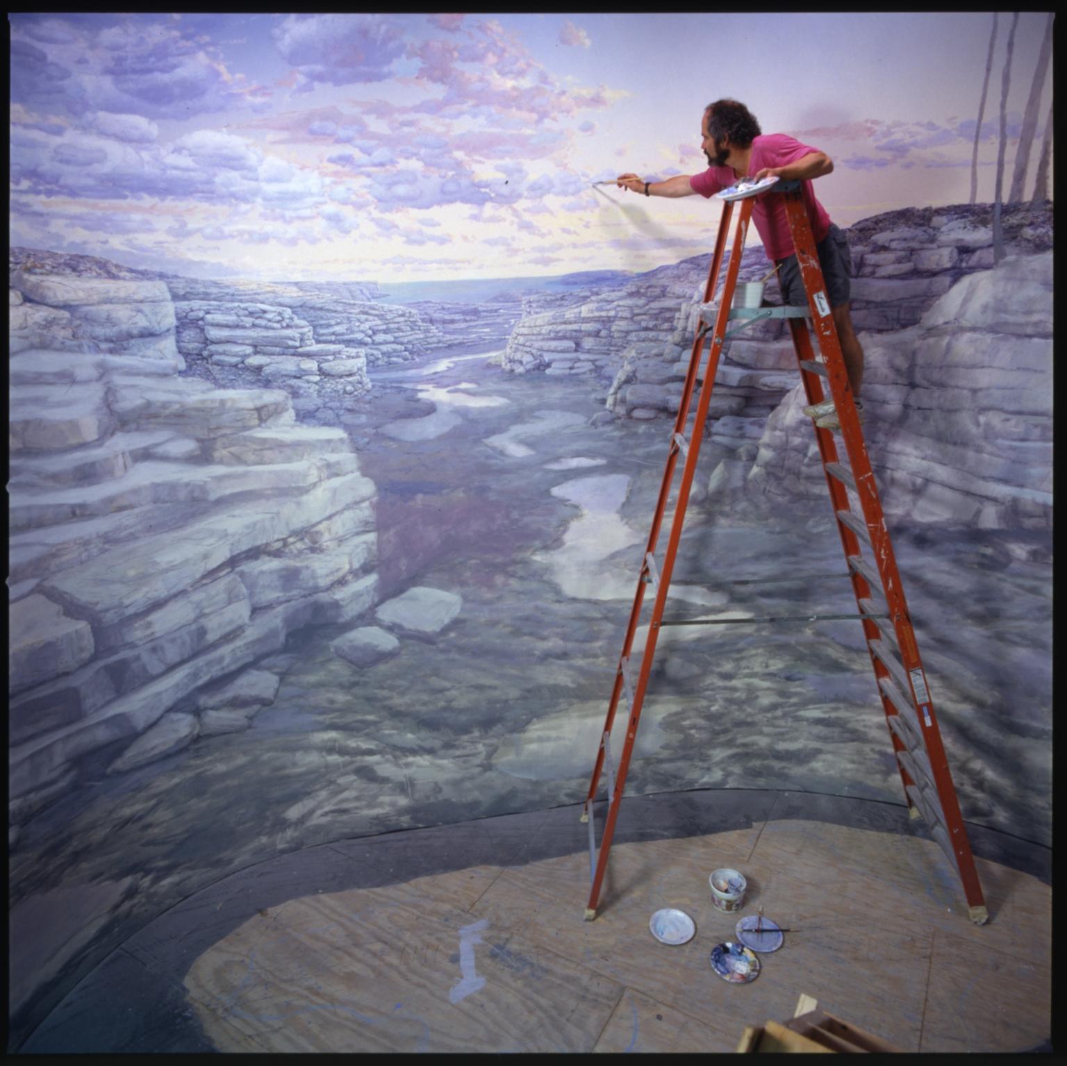 Jan Vriesen painting background of Kansas Coastline diorama