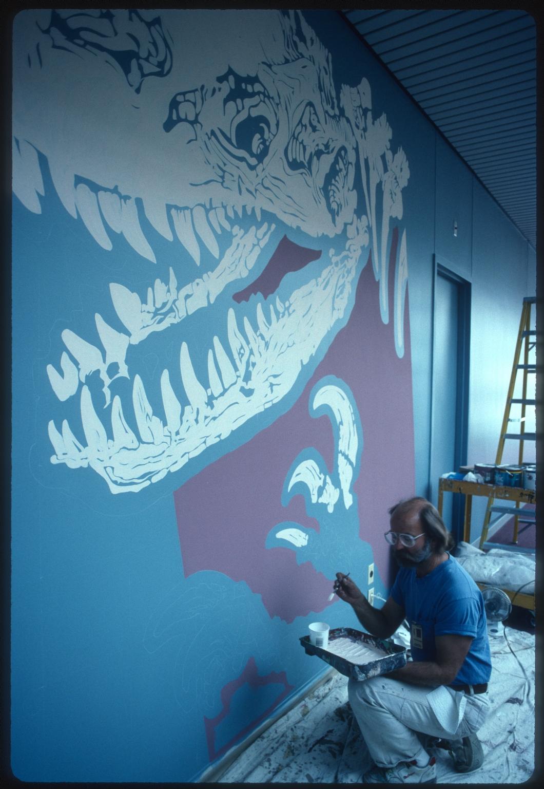 Chuck Parson painting Allosaurus