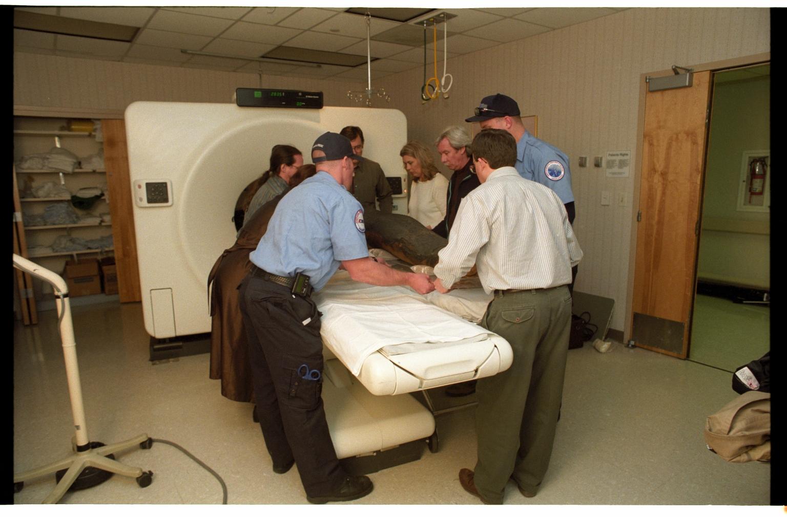 Preparing mummy for CT Scan
