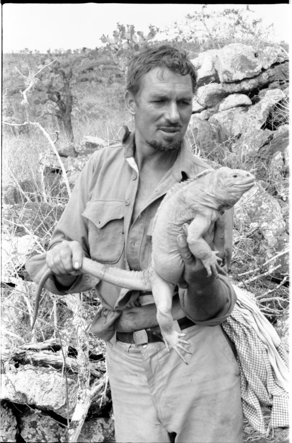 Carl Angermeyer with Iguana