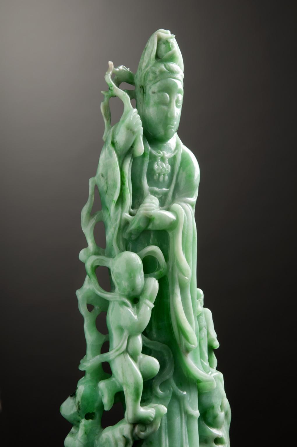 Chinese Apple Green Jade Guanyin